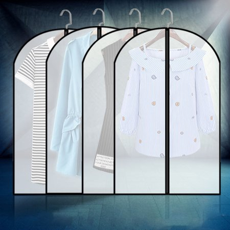 Garment Bags EVA Clear Dust-Proof Hanging Suit Cover Protector Garment Bags for Travel & Clothing Storage Bags  5/10/15 PCS Notes:Clothes and coat hanger do not contain.Package Included:5/10/15x Garment BagsMaterial: EVAColor: Clear With Black EdgeM Size(W*L): 60 x 80 cmL Size(W*L): 60 x 100 cmXL Size(W*L): 60 x 120 cmOptional Quantity:5/10/15 PiecesOptional Size:M/L/XLFeatures:Lightweight and foldable design.With smooth zipper for convenient closure.Top with a suitable hole to hold the hanger.It can be used for storing all kinds of clothes.It can prevent moisture, prevent insects and prevent mould.EVA material,environmental protection and tasteless,washable.The clothes are suspended vertically, so that the clothes are straight and upright,and not wrinkled.