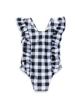Iuhan Toddler Kid Girl Plaid Ruffled Bikini Beach Bathing Bodysuit Swimsuits Swimwear