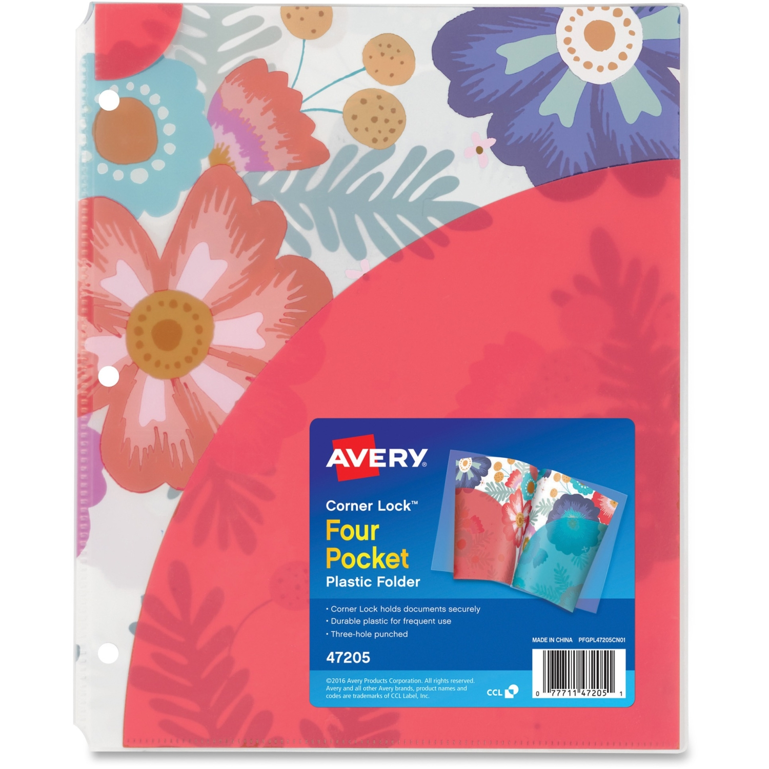 Avery  Corner Lock  Four-Pocket Plastic Folder 47205, Floral, 1 Folder