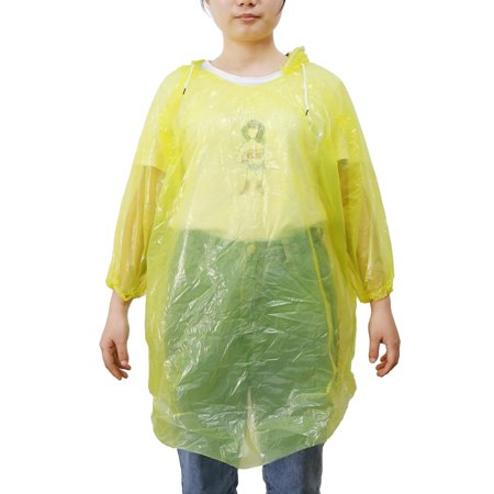 45b59070dbe9d Travel Yellow One Size Adult Disposable Hooded Raincoat Rain Poncho for -  image 1 of 1 ...