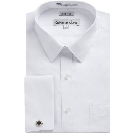 Gentlemens Collection Men's 1921 Slim Fit French Cuff Solid Dress Shirt - White - 14.5 2-3 Gentlemens Collection