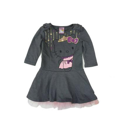 Hello Kitty Toddler & Little Girls Gray & Pink Princess Long Sleeve Dress