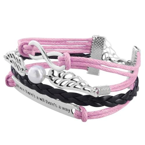 Zodaca Fashion Leather Cute Infinity Charm Bracelet Jewelry Silver lots Pink/Black Wing