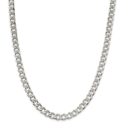 Sterling Silver 8in 8mm Pave Men's Curb Chain Bracelet