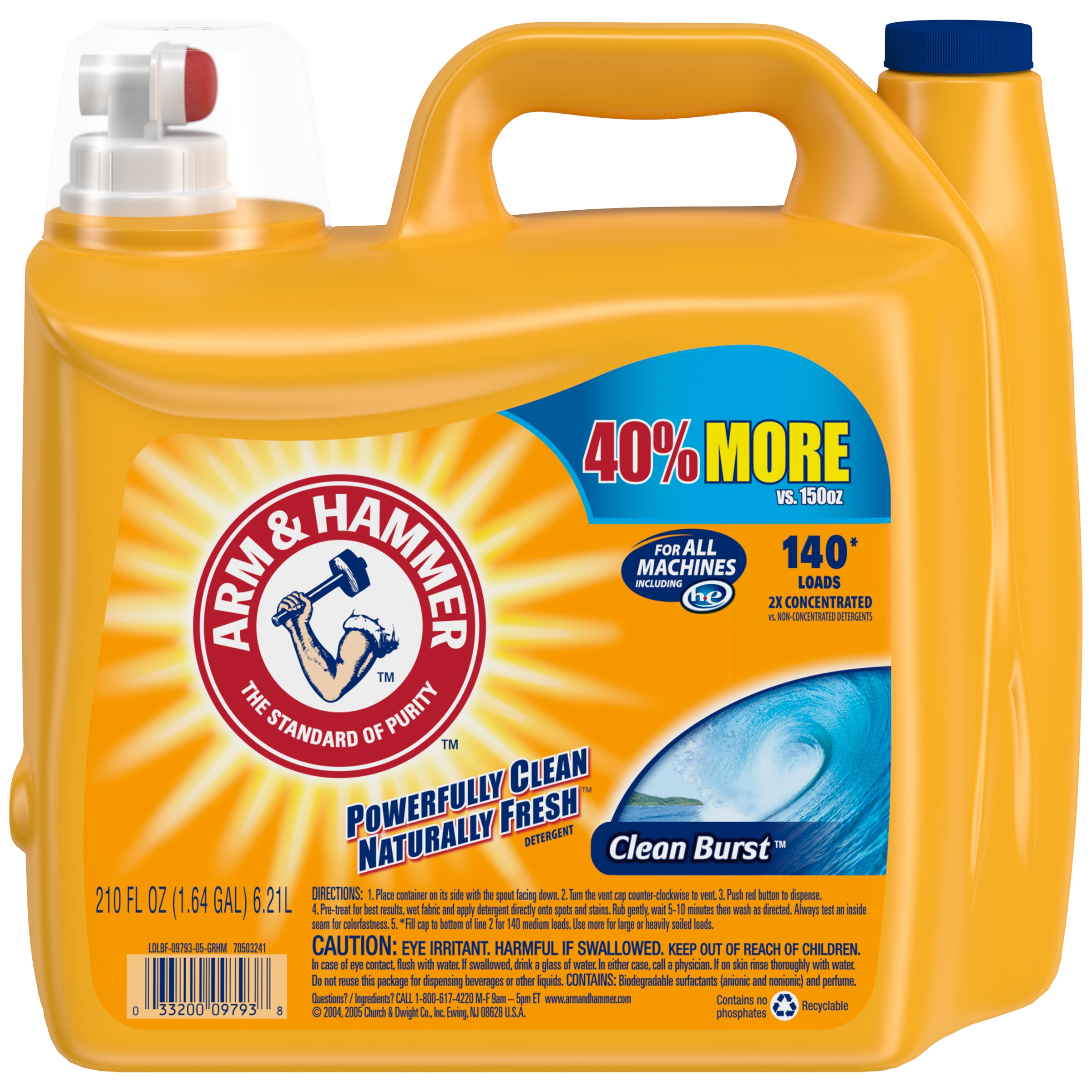 Arm & Hammer 2X Ultra Clean Burst Liquid Laundry Detergent, 210 Oz