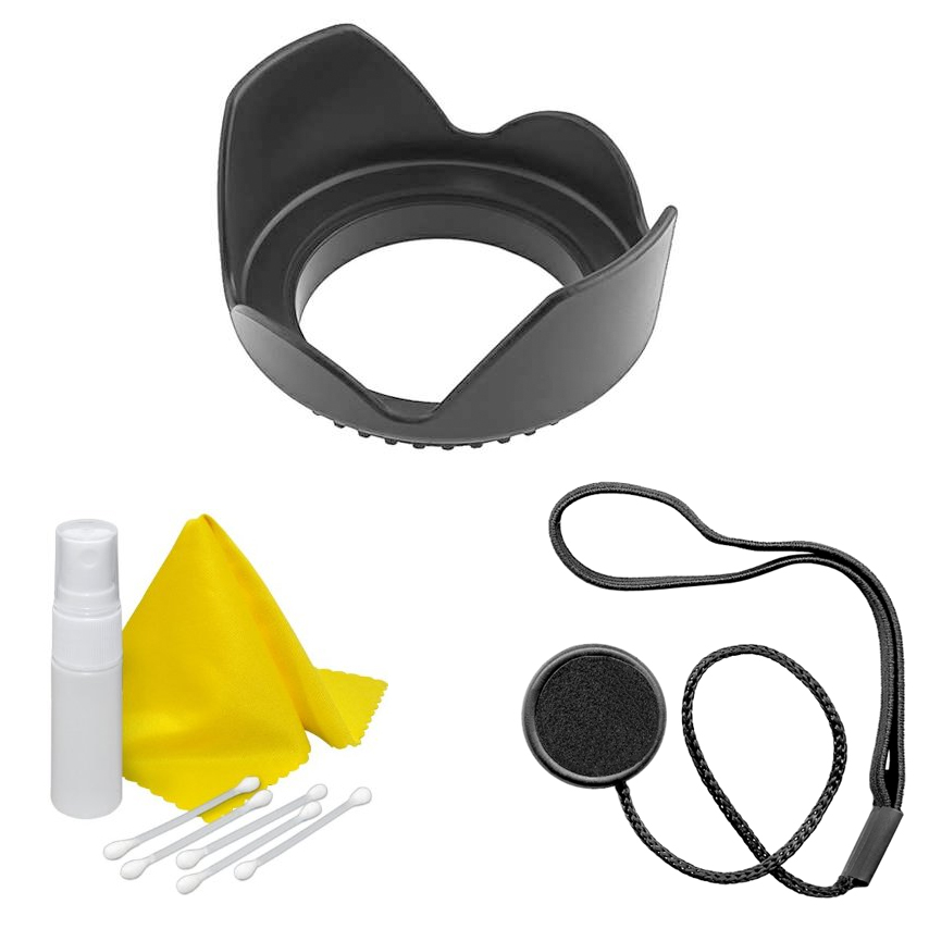 Xit 58mm Hard Lens Hood, CapKeeper & Cloth Cleaning Kit