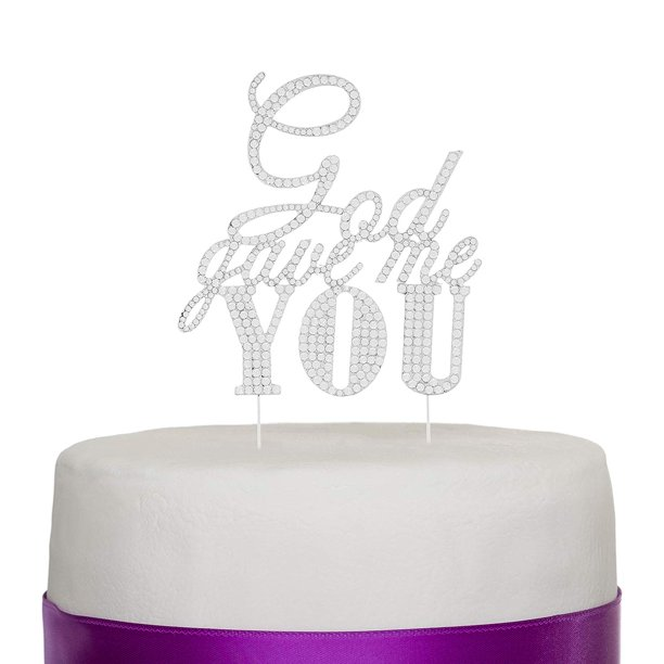 God Gave Me You Wedding Cake Topper, Silver Religious Christian Party Decoration