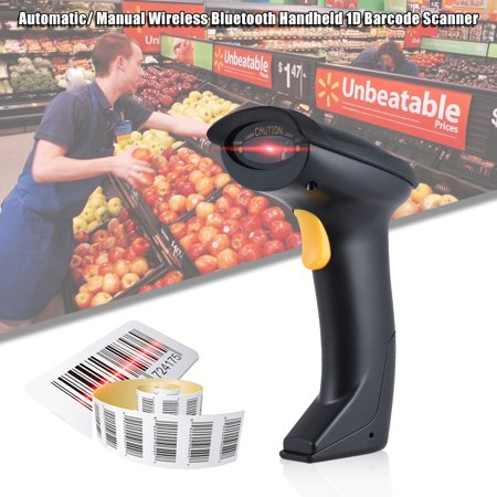 Automatic/ Manual Wireless Bluetooth Handheld 1D Barcode Scanner Reader Supports Reverse Type Bar Code Scanning for Android iOS Windows(XP/W7/W8) System for iPad iPhone Tablet