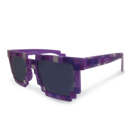 8-Bit Pixelated Purple Sunglasses Geek Square Nerd 90's (90s Nerd Glasses)