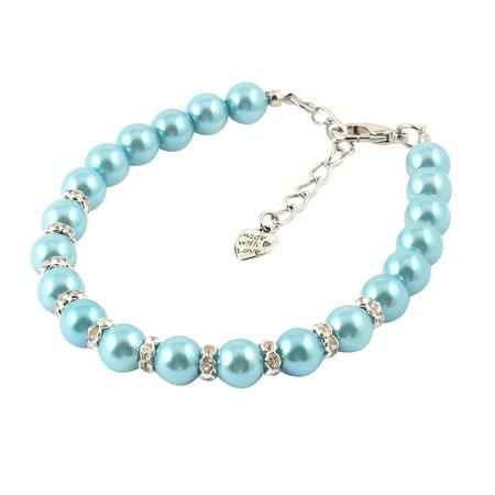 - Blue Imitation Pearl Linked Rhinestone Inlaid Pet Dog Collar Necklace S