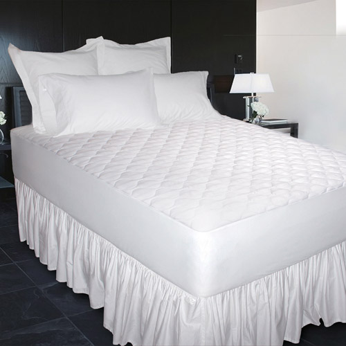 Newpoint 600-Thread Count Cotton Jacquard Mattress Pad, White