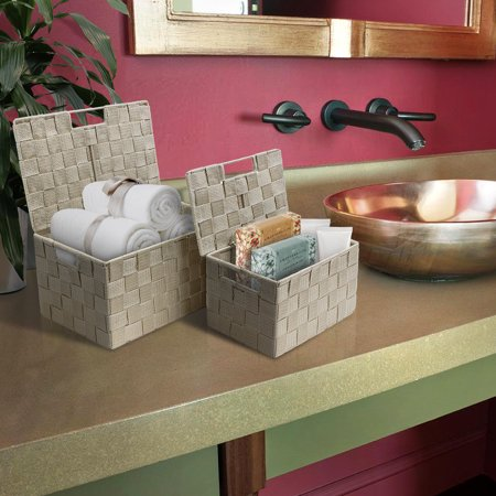 Weave Stackable Basket Set, 3 Pieces- Beige