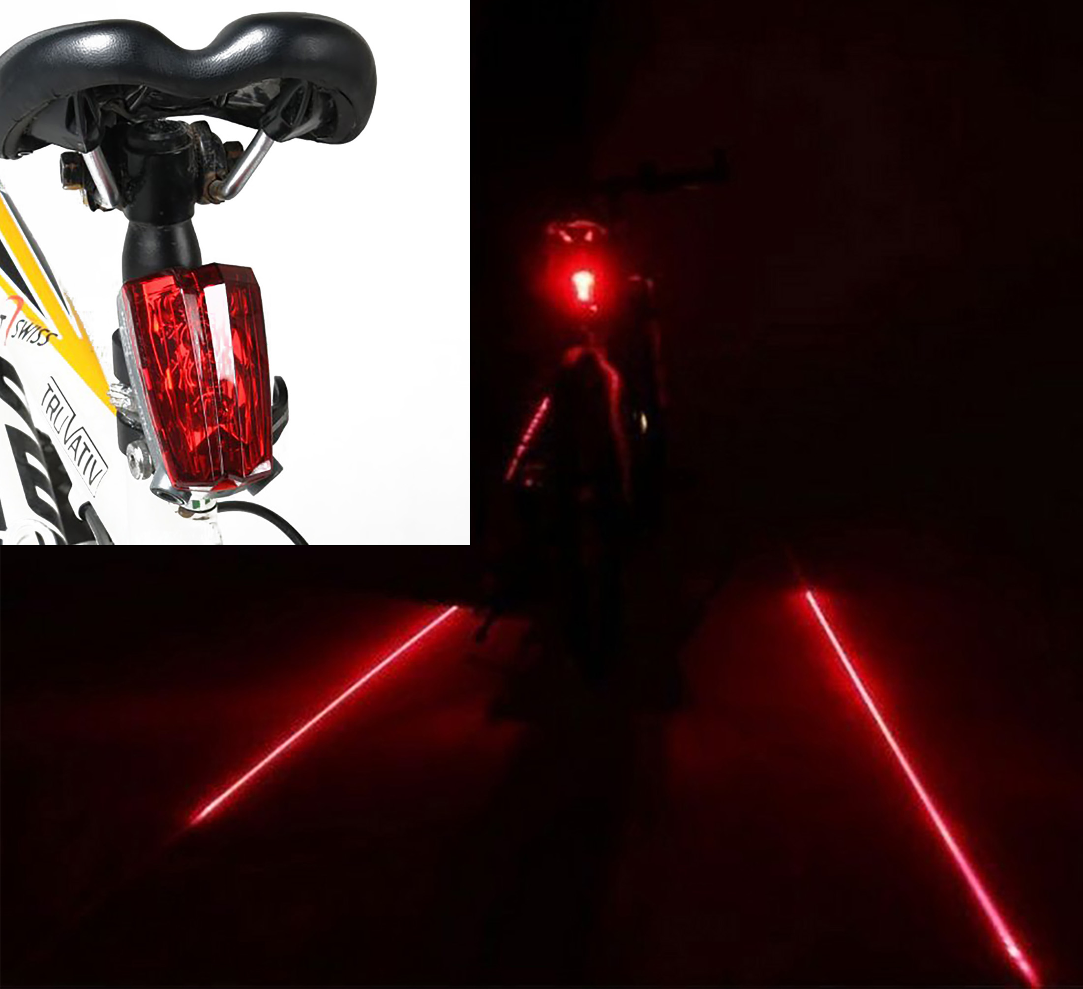 Bike Tail Light - Bicycle Rear Light for Lane Safety - 5 LED & 2 Laser Beam for Cycling Riding Warning