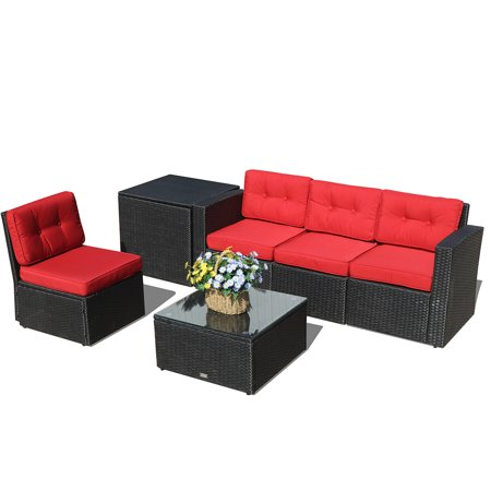 Outdoor Patio Furniture Set 6 Piece Rattan Sectional Sofa With Cushions Wicker Storage Box Aluminium Frame Black Pe Red