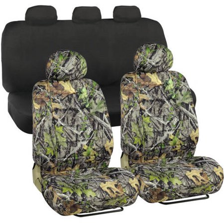 BDK Camo Durable Front Car Seat Covers With Solid Black
