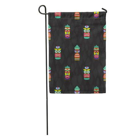 KDAGR Pole Colorful Tiki Masks Totems Dark Pattern Hawaiian Culture Bright Garden Flag Decorative Flag House Banner 12x18 inch](Tiki Pole)