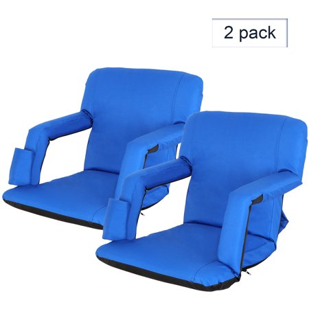 Zeny 2 Pieces Blue Wide Stadium Seat Chair Bleachers Benches 19.5