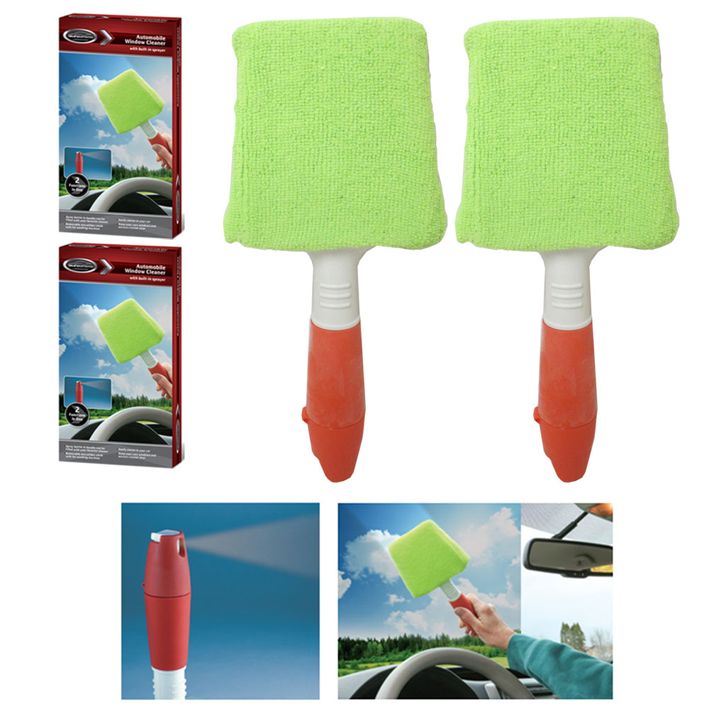 2 Pc Auto Window Cleaner Microfiber Windshield Clean Shine Car Wiper Glass Brush