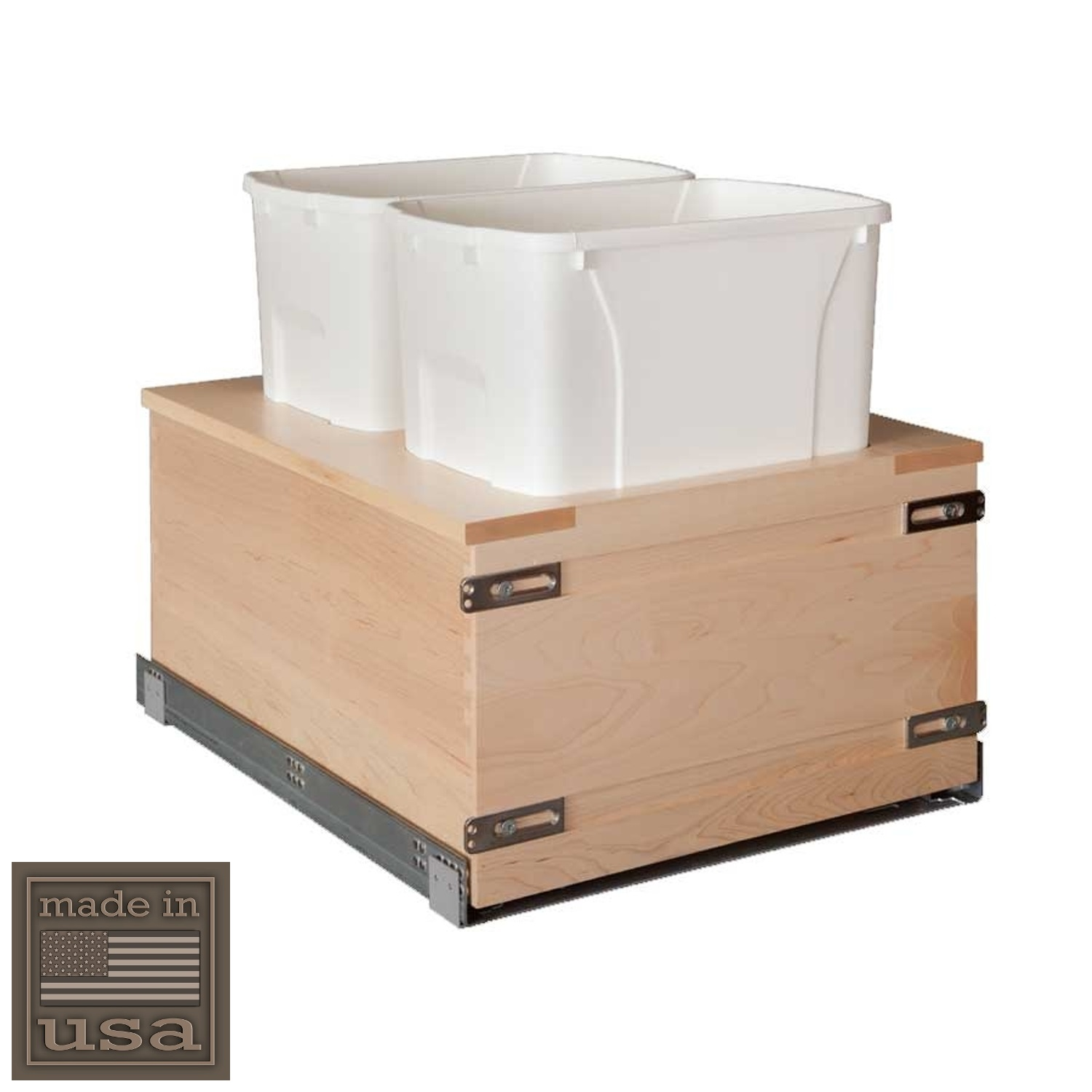 """Century Components SIGBM17PF-50 Kitchen Pull Out Waste Bin Container - 50 Qt White Double - Maple - Soft Close Bottom Mount, 17-7/8"""""""