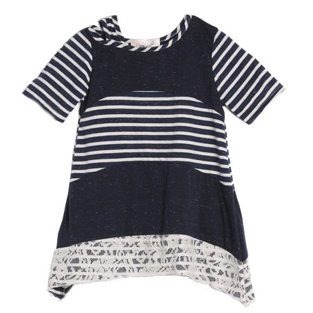 Isobella & Chloe Girls Navy Short Sleeve Stripe Off Shoulder Sailor Top