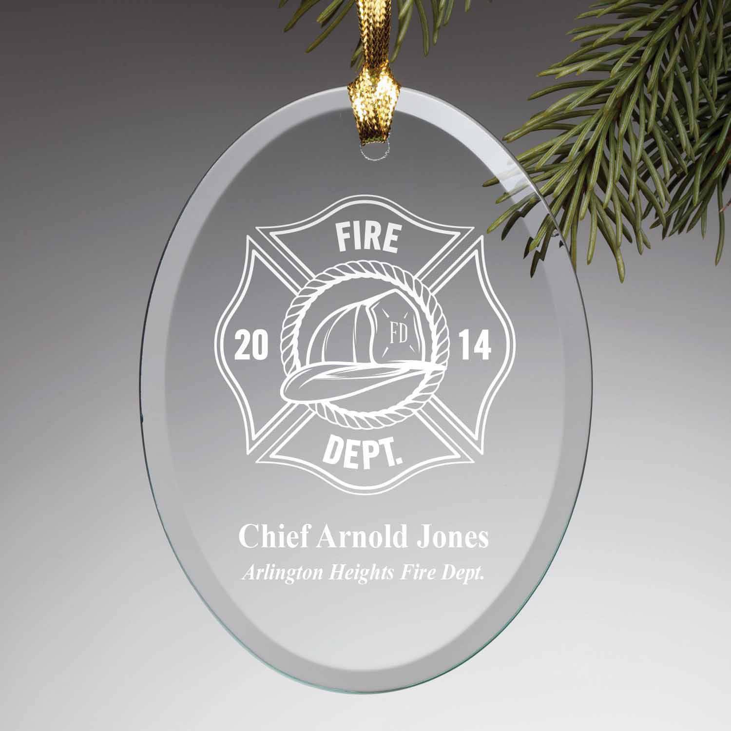 Personalized Firefighter Glass Christmas Ornament