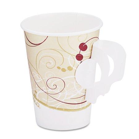 Hot Cups, W/paper Handle, Symphony Design, 8oz, Beige, 1000/carton - Paper Tea Cups With Handles