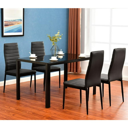 Zimtown New Modern 5 Pcs Dining Table Set With 4 Leather Chairs Kitchen Room (Modern Set Table)