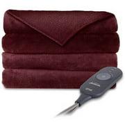 "Sunbeam Microplush 60"" x 50"" Electric Heated Garnet Throw Blanket, 1 Each"