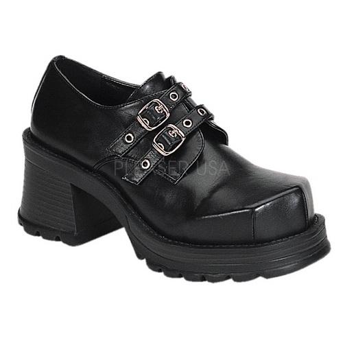 "Demonia TRUMP-101 2 3 4"" Goth 2 Buckle Strap Blk Pu Chunky Heel Shoe-Blk Vegan Leather-11 by PleaserUSA"