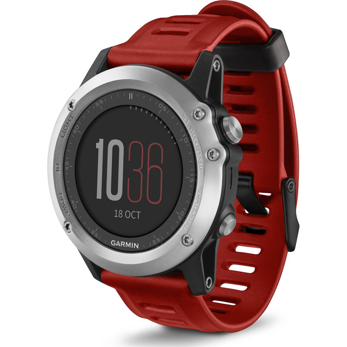 Garmin fenix 3 Multisport Training GPS Watch - Silver with Red Band