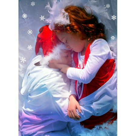 Canvas Print Love Sister Sleep Hug Winter Brother Stretched Canvas 10 x 14