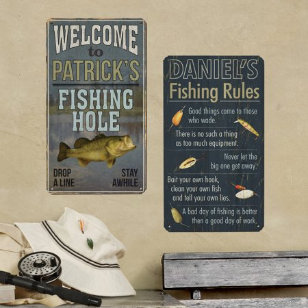 Personalized gone fishin metal signs fishing rules for Alabama game and fish regulations