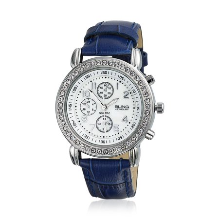 Deco Style Round Crystal Bezel White Dial Fashion Wrist Watch For Women Faux Blue Crocodile Leather Band Steel Back