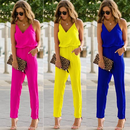 Womens Casual spaghetti strap Bodycon Romper Jumpsuit Club Bodysuit Long Pants