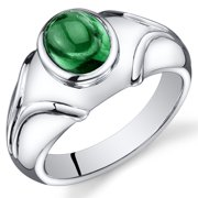 2.50 Ct Men's Created Emerald Engagement Ring in Rhodium-Plated Sterling Silver