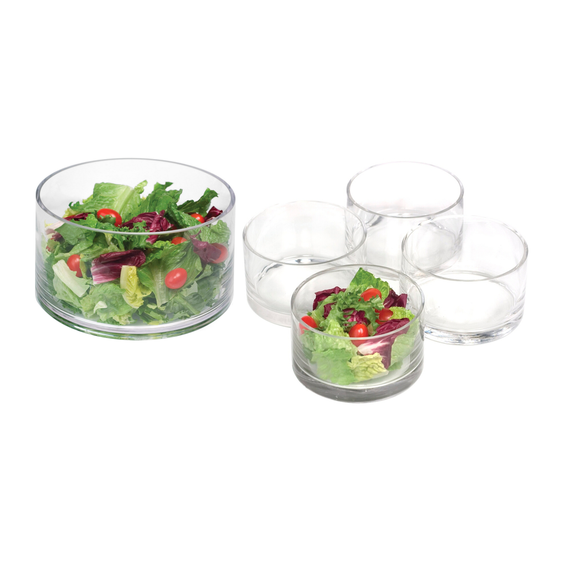 Artland Simplicity Glass Cylinder Salad Serving Bowl 5 Piece Set, Service for 4 by Artland