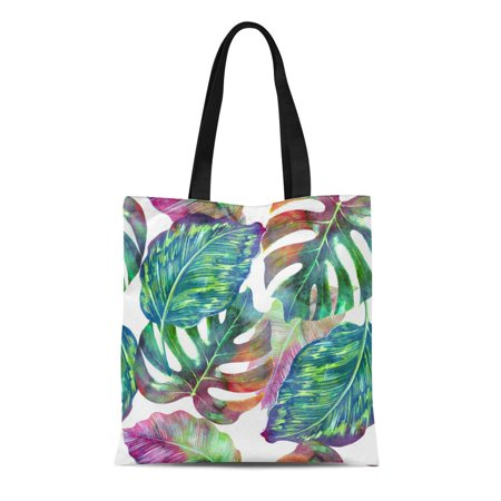 HATIART Canvas Tote Bag Green Monstera Tropical Leaves Jungle Leaf Watercolor Floral Pattern Durable Reusable Shopping Shoulder Grocery Bag - image 1 de 1