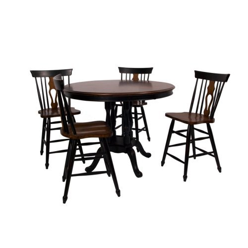 Sunset Trading Fiddleback 5 Piece Round Counter Height Set - Chestnut & Black