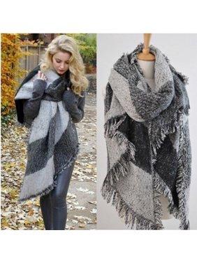 Fashion Women Wool Blend Plaid Wrap Winter Warm Fleece Scarf Shawl Scarve