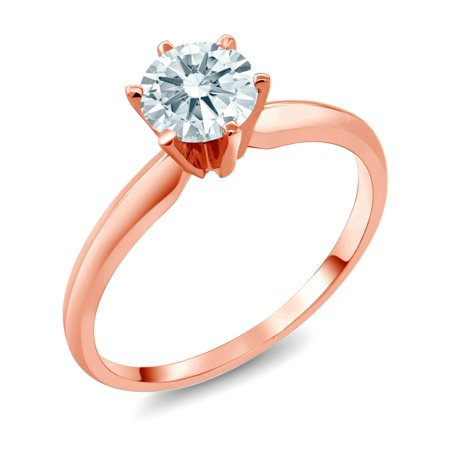 - 14K Rose Gold Solitaire Ring Set with Round White Zirconia from Swarovski