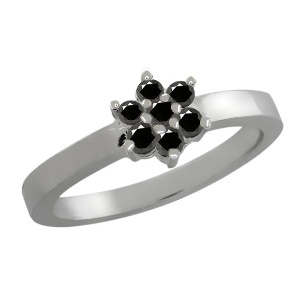 0.23 Ct Round Black Diamond 18K White Gold Flower Ring