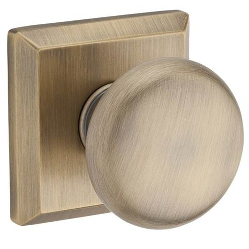 Baldwin Round Passage Door Knob with Traditional Square Rose