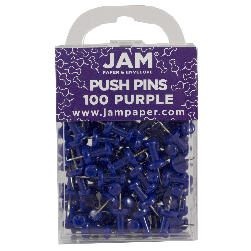JAM Paper® Push Pins - Purple PushPins - 100/Pack