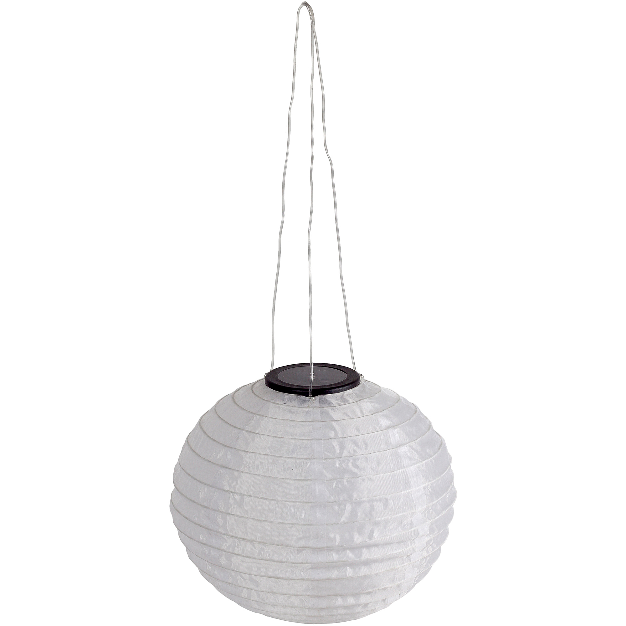 Solar White Fabric Hanging Lantern, 2x Brighter