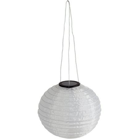 Solar 2X Brighter White Fabric Hanging Lantern