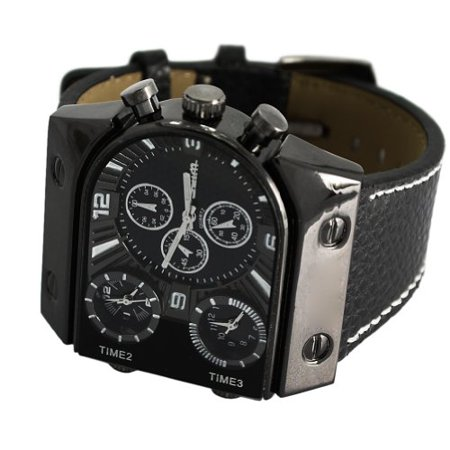 Men Fashion Casual Big Square Dial Watch 3 Analog Dial Display Wrist Watch Sport WatchLeather Band