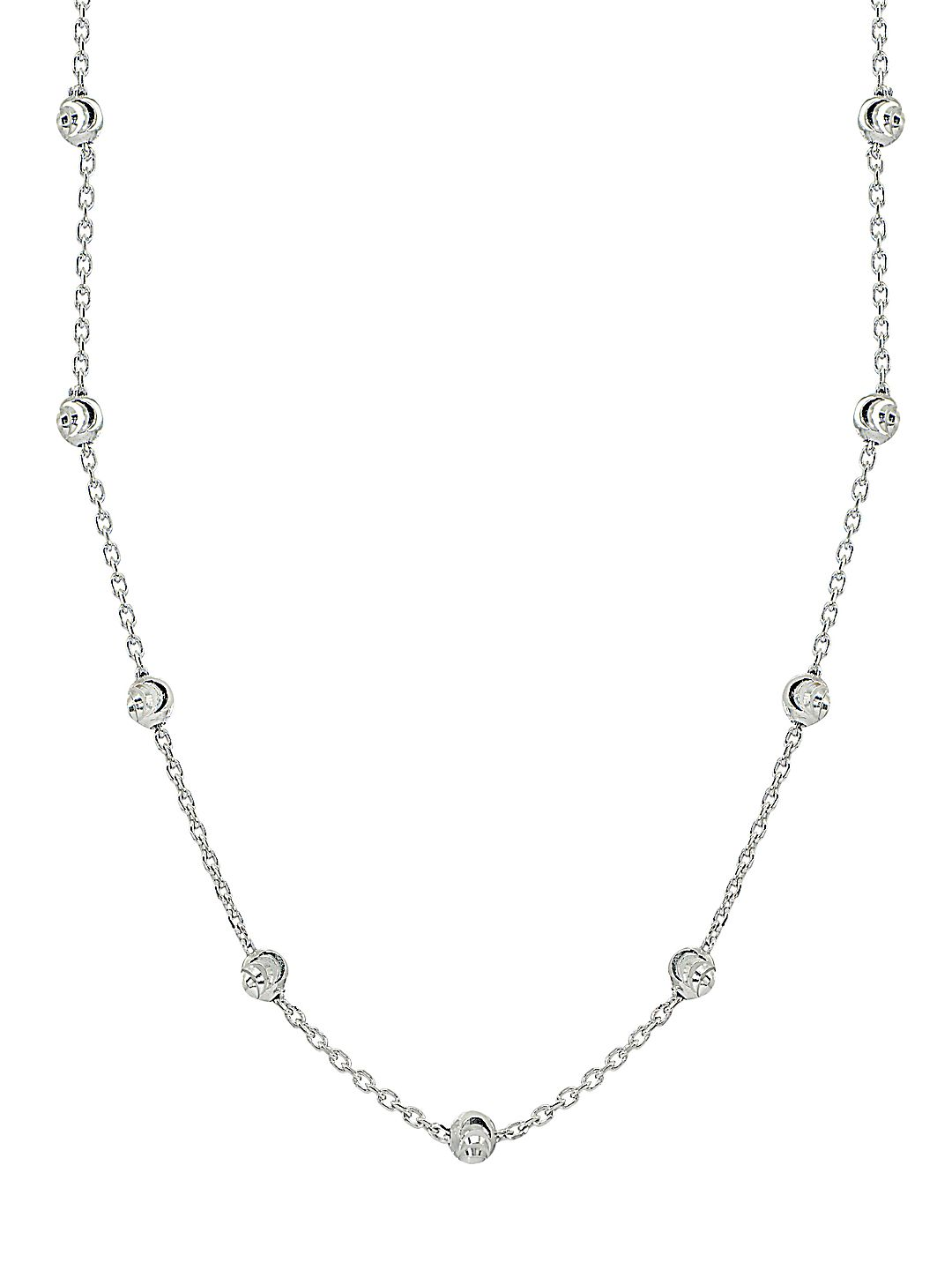 Sterling Silver Beaded Station Necklace