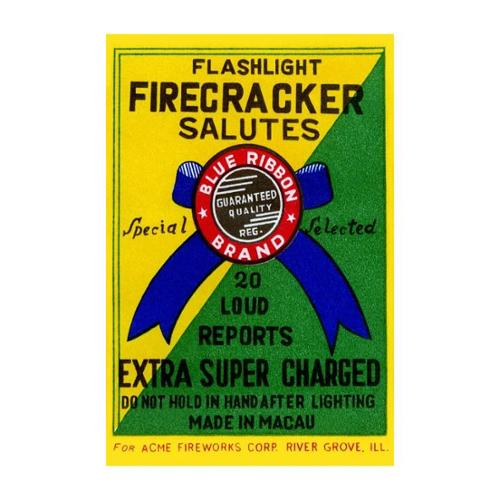 Flashlight Firecracker Salutes - Blue Ribbon Brand Print (Canvas 12x18)
