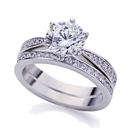 Vintage Bridal (Men Women Platinum Plated Sterling Silver 2ct Round CZ Vintage 2pcs Engagement Ring Bridal Set ( Size 5 to 9 ),)