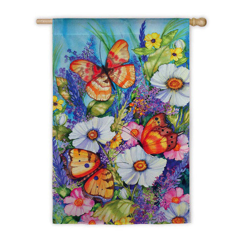 House Size Silk Reflections Flag, Bright Butterfly, 29x43 Inches